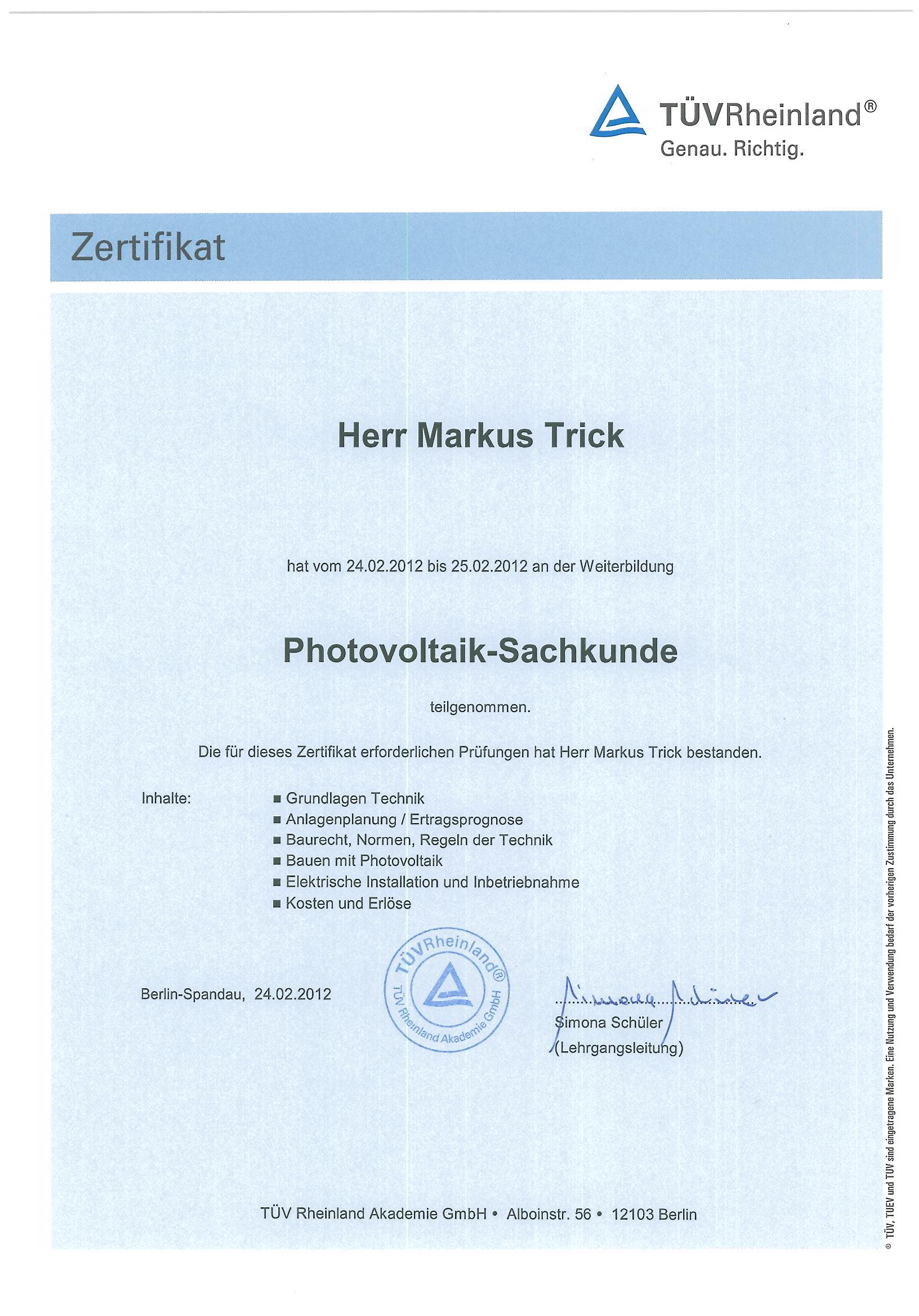 Zertifikat - TÜV-geprüfter Photovoltaiksachkundiger - Markus Trick