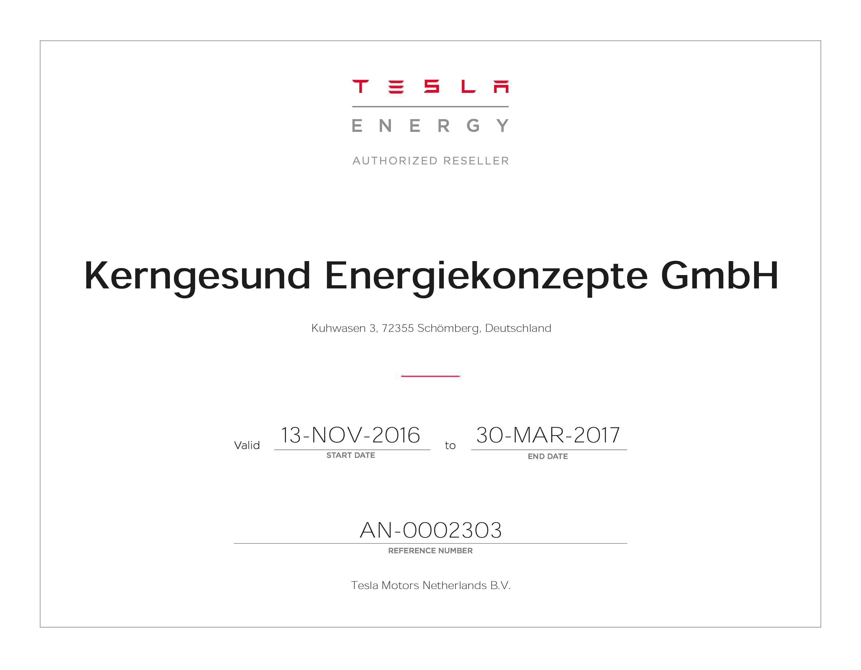 Zertifikat - TESLA ENERGY - AUTHORIZED RESELLER - Kerngesund Energiekonzepte GmbH