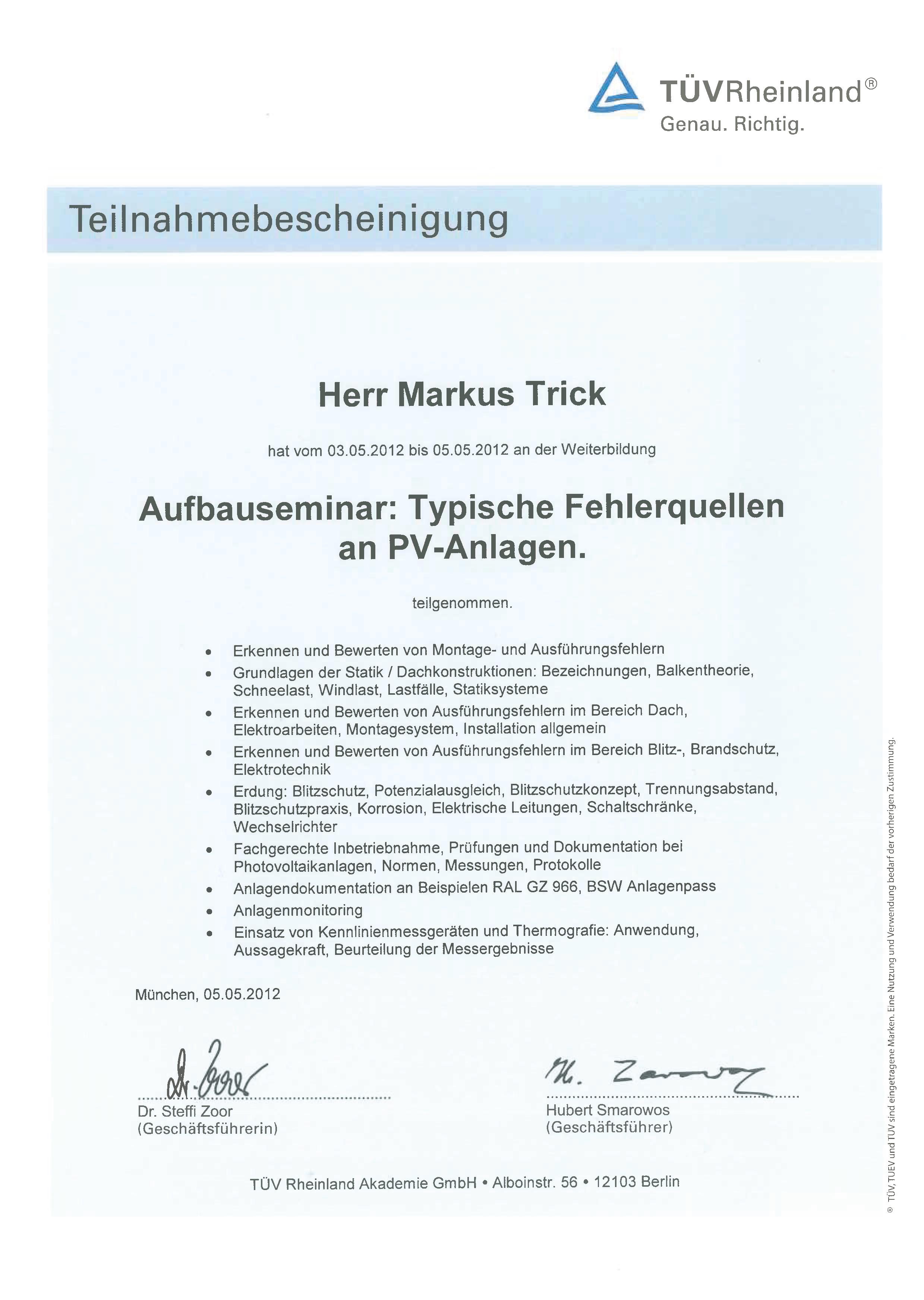 Teilnahmebescheinigung TÜV - Typische Fehlerquellen an PV-Anlagen - Markus Trick