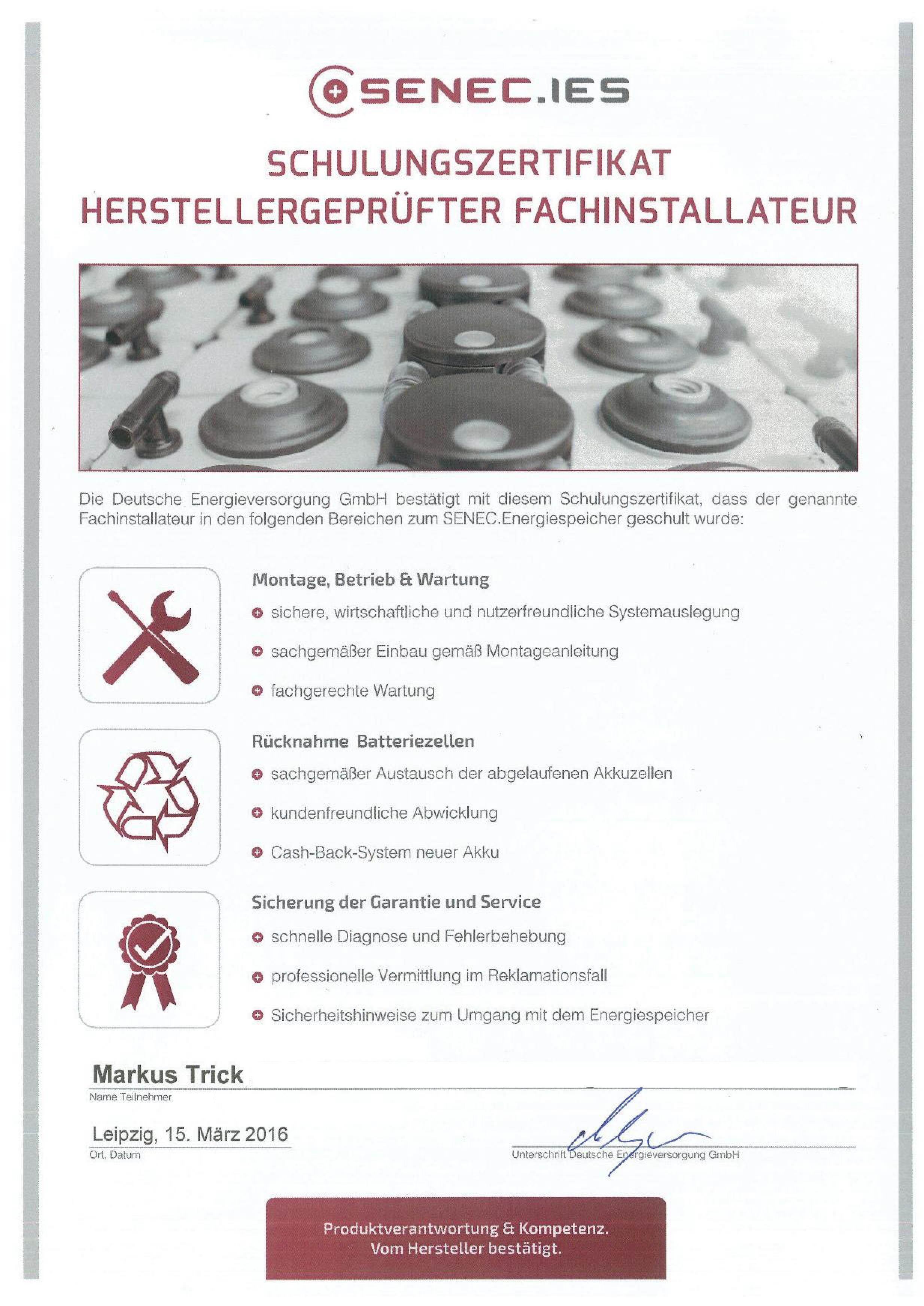 Zertifikat - Herstellergeprüfter Fachinstallateur - SENEC.IES - Markus Trick