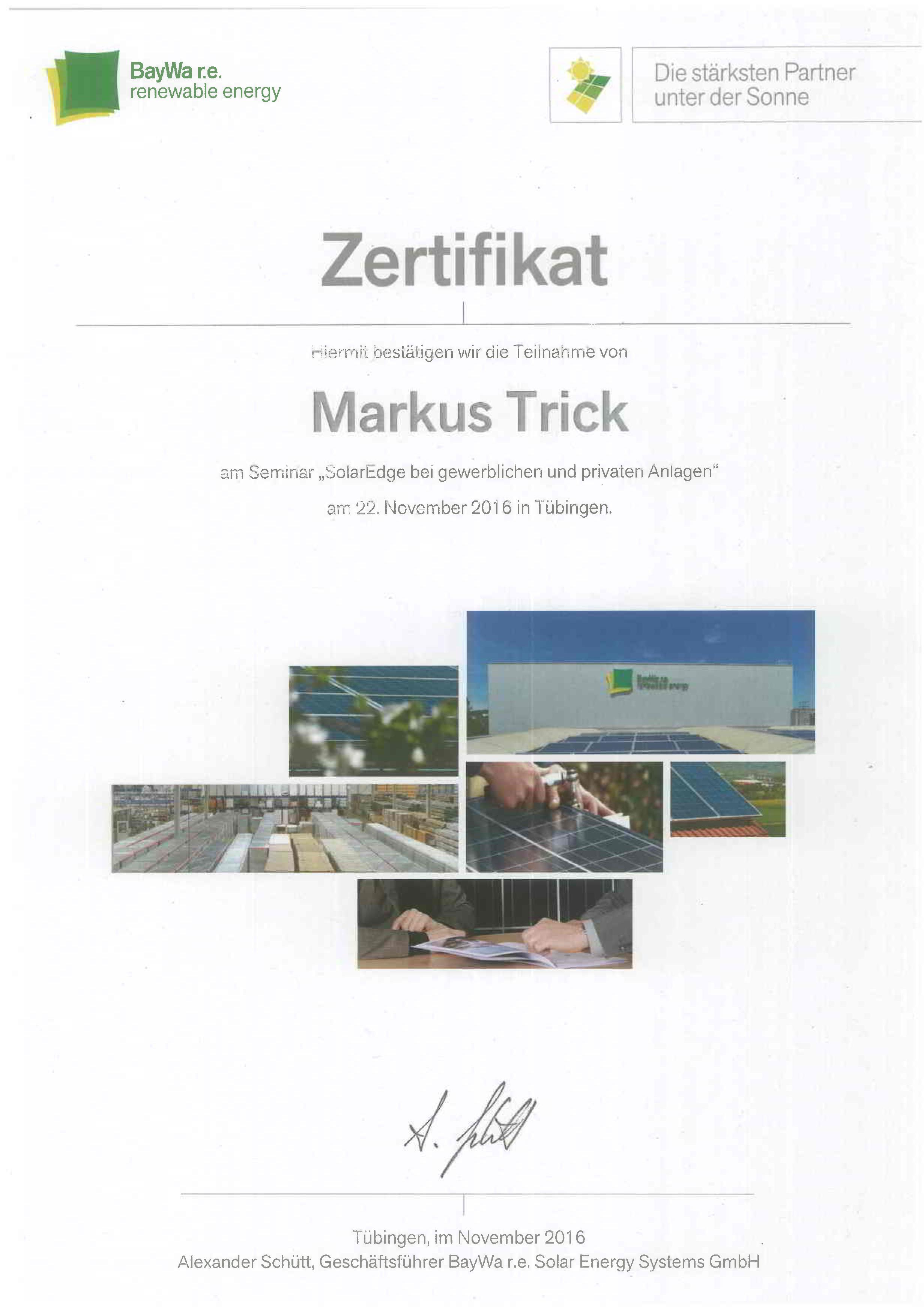 Zertifikat - SolarEdge bei gewerblichen und privaten Photovoltaikanlagen - Markus Trick
